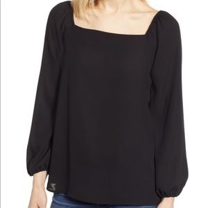 Gibson Square Neck Long Sleeve Blouse